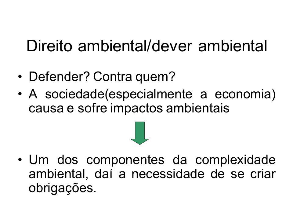 Direito ambiental/dever ambiental Defender? Contra quem? A sociedade(especialmente a economia) causa e sofre impactos ambientais Um dos componentes da
