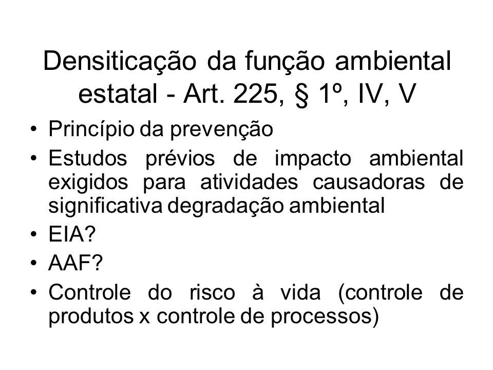 Densiticação da função ambiental estatal - Art. 225, § 1º, IV, V Princípio da prevenção Estudos prévios de impacto ambiental exigidos para atividades
