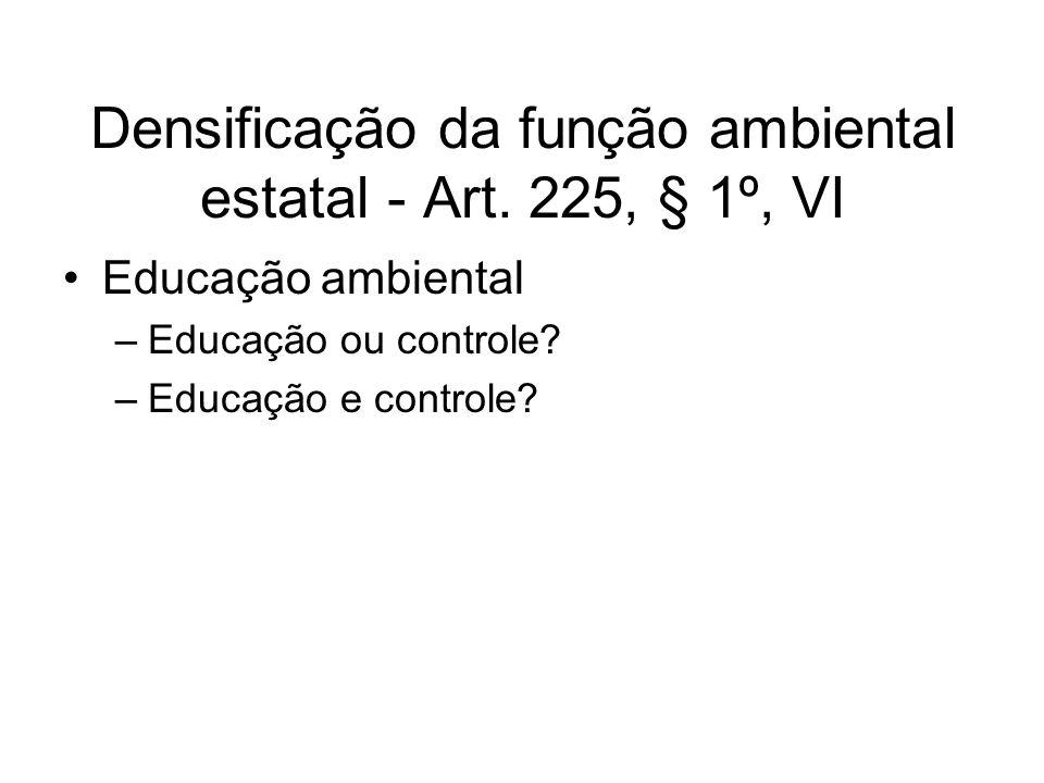 Densificação da função ambiental estatal - Art. 225, § 1º, VI Educação ambiental –Educação ou controle? –Educação e controle?