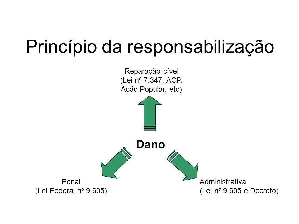 Princípio da responsabilização Dano Reparação cível (Lei nº 7.347, ACP, Ação Popular, etc) Penal (Lei Federal nº 9.605) Administrativa (Lei nº 9.605 e