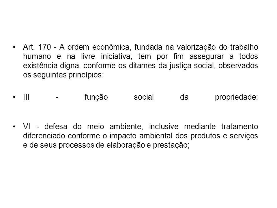Art. 170 - A ordem econômica, fundada na valorização do trabalho humano e na livre iniciativa, tem por fim assegurar a todos existência digna, conform