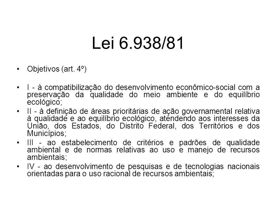 Lei 6.938/81 Objetivos (art. 4º) I - à compatibilização do desenvolvimento econômico-social com a preservação da qualidade do meio ambiente e do equil