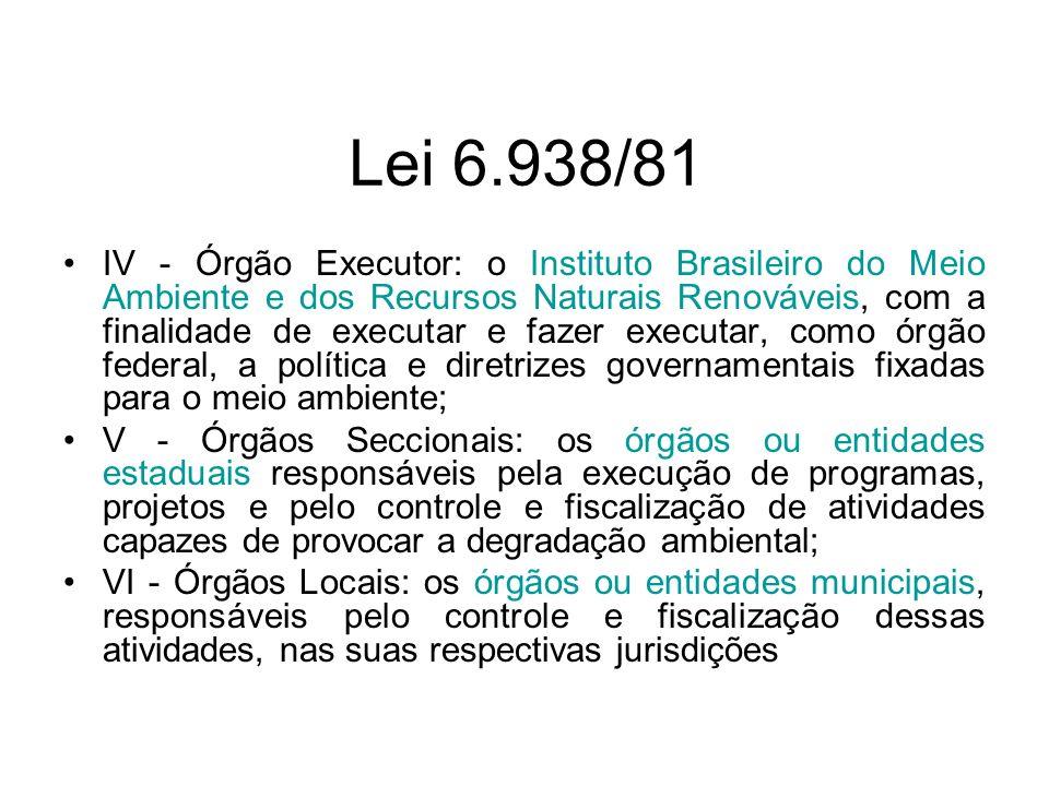 Lei 6.938/81 IV - Órgão Executor: o Instituto Brasileiro do Meio Ambiente e dos Recursos Naturais Renováveis, com a finalidade de executar e fazer exe