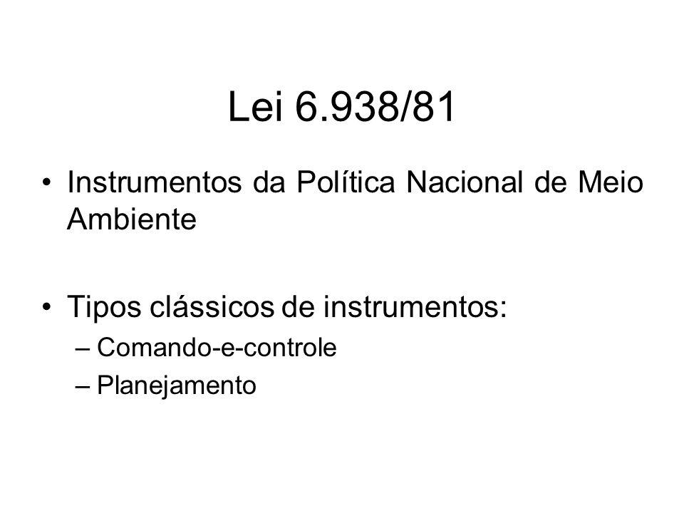 Lei 6.938/81 Instrumentos da Política Nacional de Meio Ambiente Tipos clássicos de instrumentos: –Comando-e-controle –Planejamento