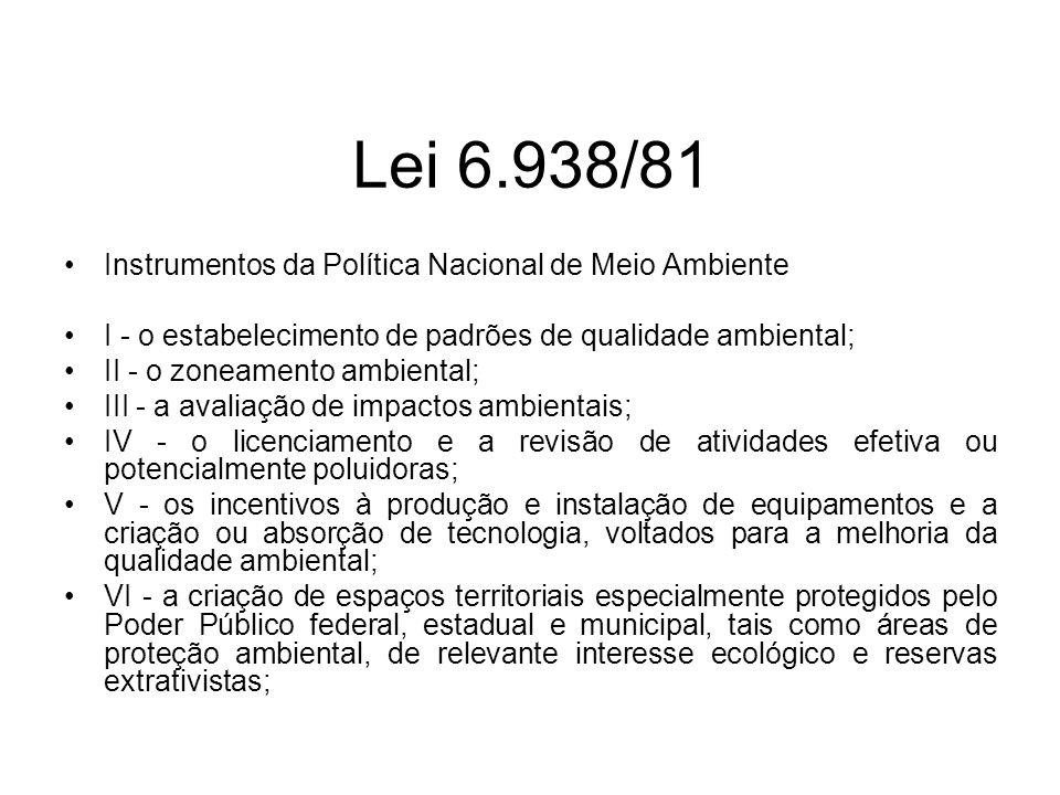 Lei 6.938/81 Instrumentos da Política Nacional de Meio Ambiente I - o estabelecimento de padrões de qualidade ambiental; II - o zoneamento ambiental;