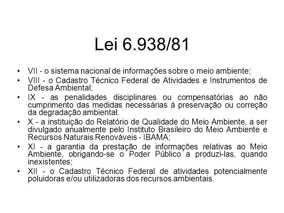 Lei 6.938/81 VII - o sistema nacional de informações sobre o meio ambiente; VIII - o Cadastro Técnico Federal de Atividades e Instrumentos de Defesa A