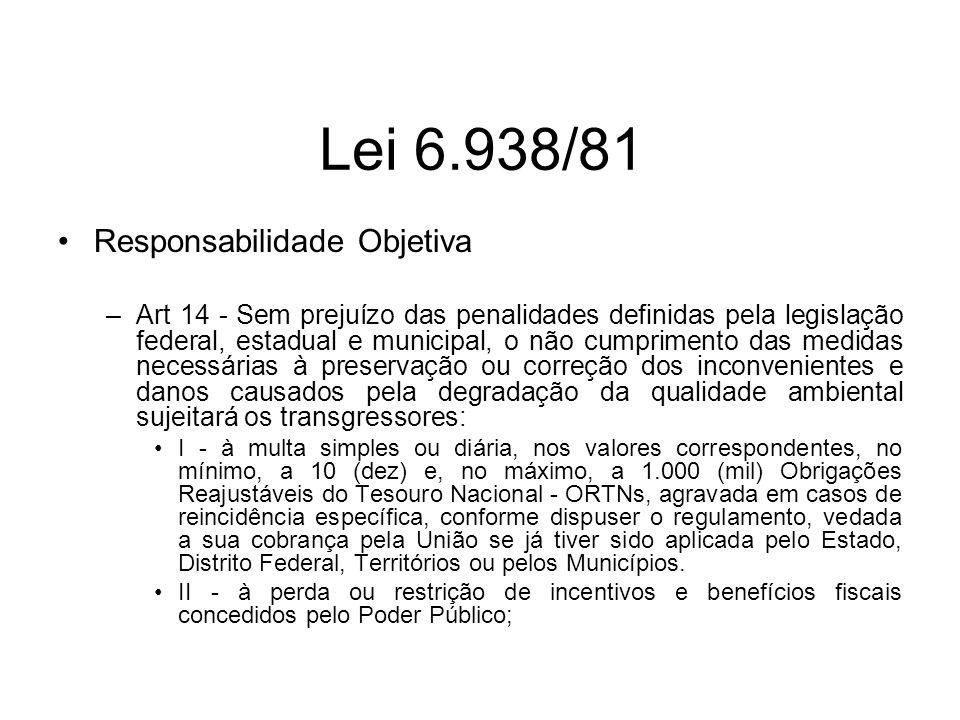 Lei 6.938/81 Responsabilidade Objetiva –Art 14 - Sem prejuízo das penalidades definidas pela legislação federal, estadual e municipal, o não cumprimen