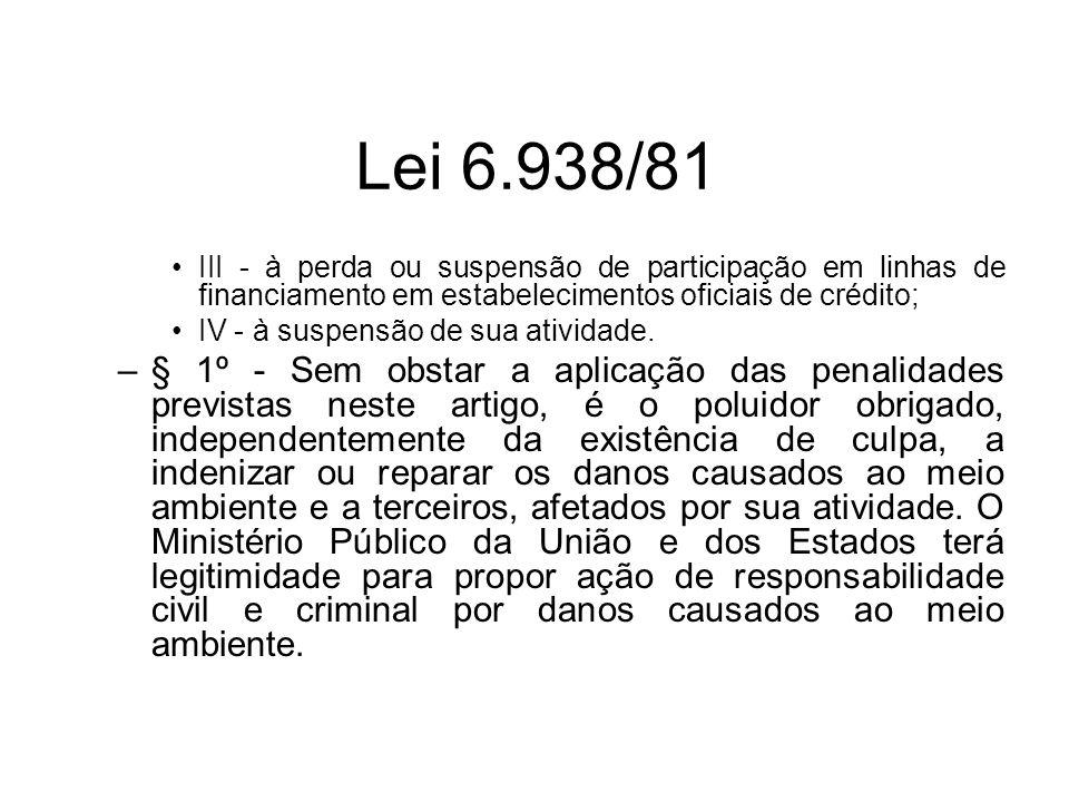 Lei 6.938/81 III - à perda ou suspensão de participação em linhas de financiamento em estabelecimentos oficiais de crédito; IV - à suspensão de sua at