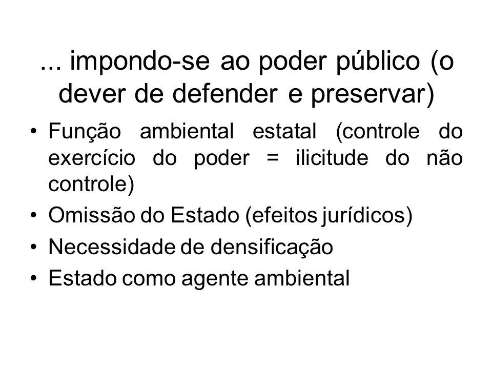 ... impondo-se ao poder público (o dever de defender e preservar) Função ambiental estatal (controle do exercício do poder = ilicitude do não controle