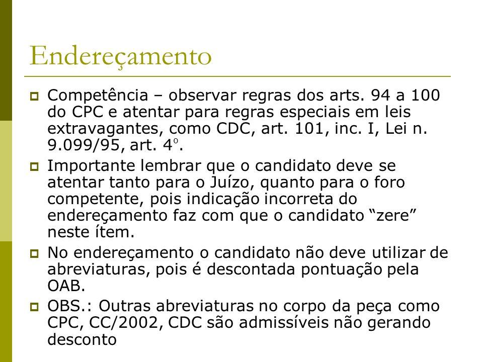 Endereçamento Competência – observar regras dos arts.