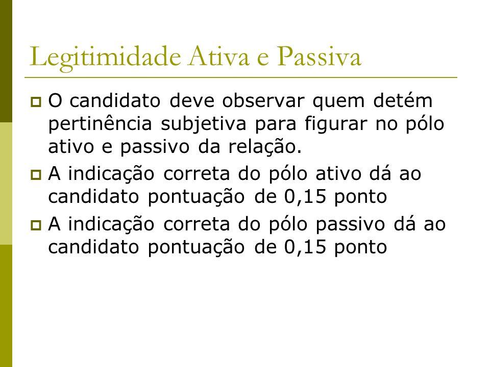 Legitimidade Ativa e Passiva O candidato deve observar quem detém pertinência subjetiva para figurar no pólo ativo e passivo da relação.