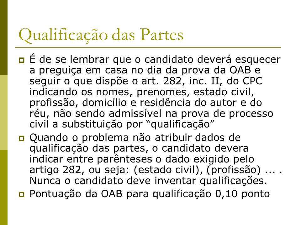 Qualificação das Partes É de se lembrar que o candidato deverá esquecer a preguiça em casa no dia da prova da OAB e seguir o que dispõe o art.