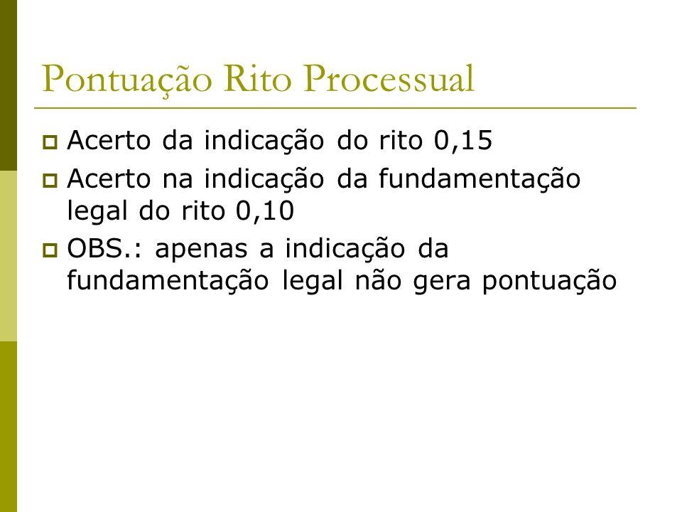 Pontuação Rito Processual Acerto da indicação do rito 0,15 Acerto na indicação da fundamentação legal do rito 0,10 OBS.: apenas a indicação da fundamentação legal não gera pontuação
