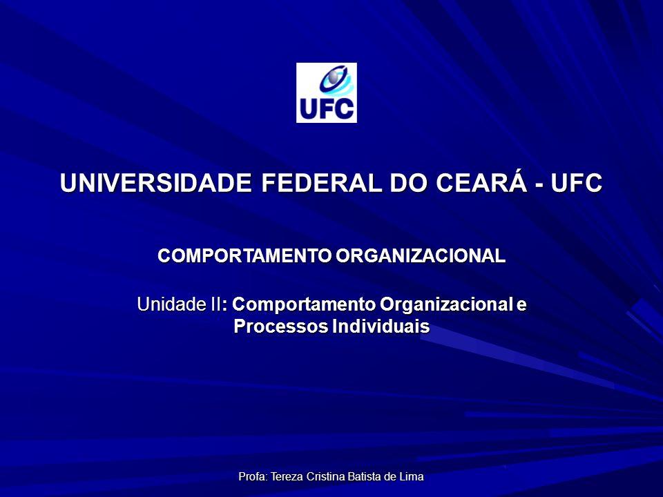 Profa: Tereza Cristina Batista de Lima UNIVERSIDADE FEDERAL DO CEARÁ - UFC COMPORTAMENTO ORGANIZACIONAL Unidade II: Comportamento Organizacional e Processos Individuais
