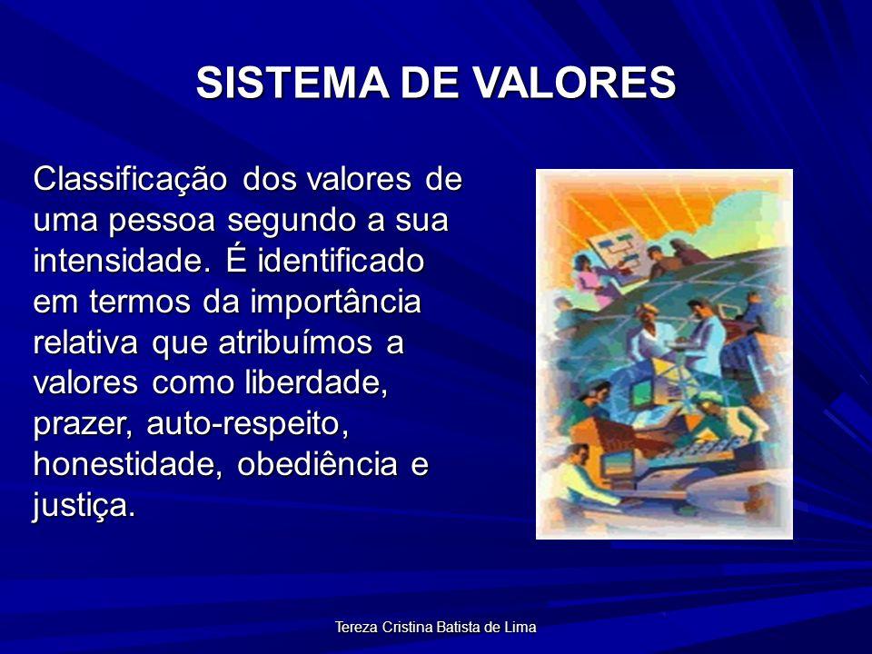 Tereza Cristina Batista de Lima SISTEMA DE VALORES Classificação dos valores de uma pessoa segundo a sua intensidade.