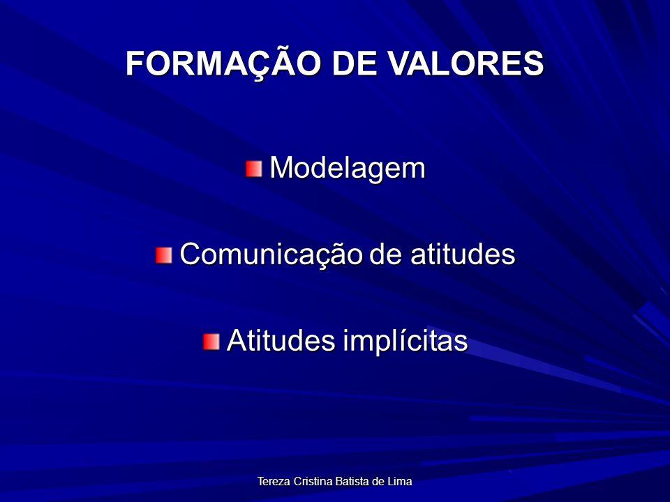 Tereza Cristina Batista de Lima FORMAÇÃO DE VALORES Modelagem Comunicação de atitudes Atitudes implícitas