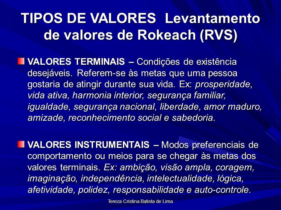 Tereza Cristina Batista de Lima TIPOS DE VALORES Levantamento de valores de Rokeach (RVS) VALORES TERMINAIS – Condições de existência desejáveis.