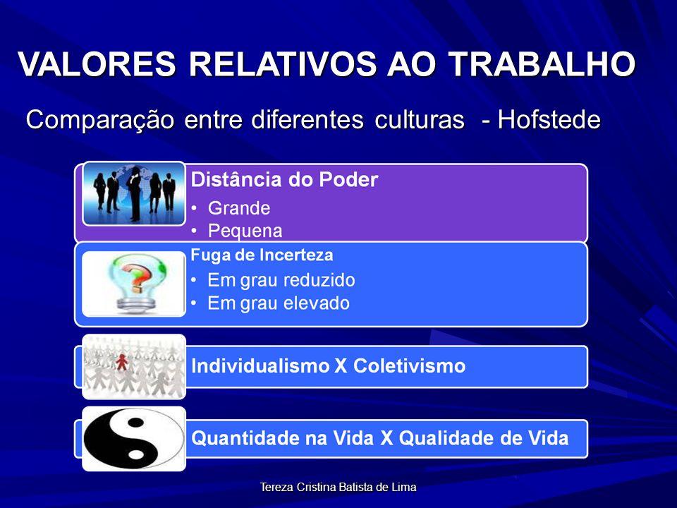 Tereza Cristina Batista de Lima VALORES RELATIVOS AO TRABALHO Comparação entre diferentes culturas - Hofstede
