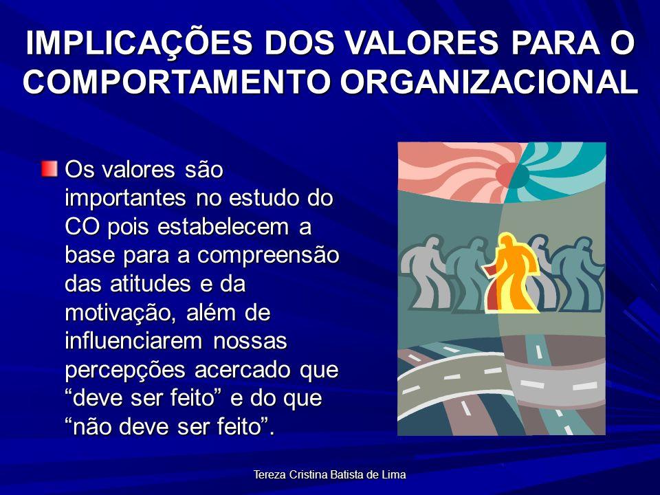 Tereza Cristina Batista de Lima IMPLICAÇÕES DOS VALORES PARA O COMPORTAMENTO ORGANIZACIONAL Os valores são importantes no estudo do CO pois estabelecem a base para a compreensão das atitudes e da motivação, além de influenciarem nossas percepções acercado que deve ser feito e do que não deve ser feito.