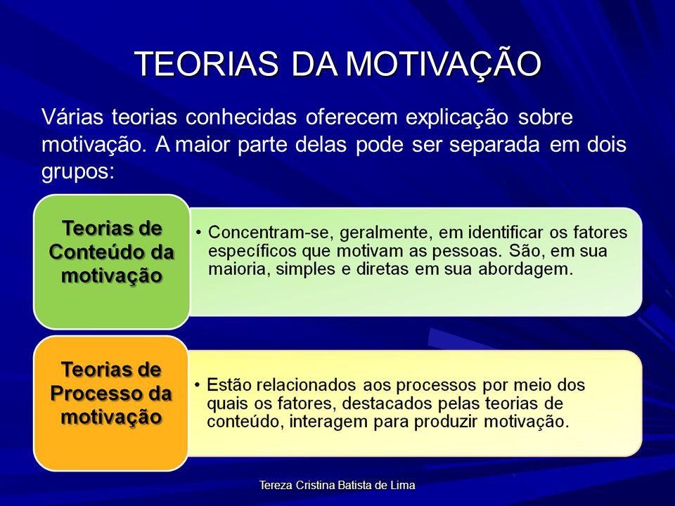 Tereza Cristina Batista de Lima TEORIAS DA MOTIVAÇÃO Várias teorias conhecidas oferecem explicação sobre motivação.
