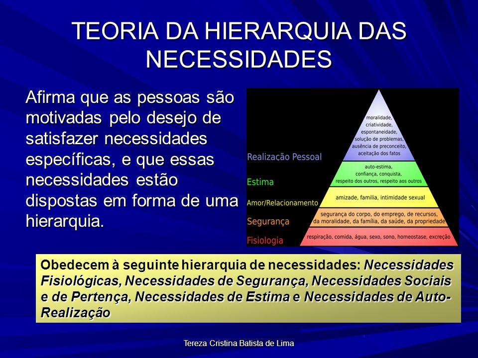 Tereza Cristina Batista de Lima TEORIA DA HIERARQUIA DAS NECESSIDADES Afirma que as pessoas são motivadas pelo desejo de satisfazer necessidades específicas, e que essas necessidades estão dispostas em forma de uma hierarquia.