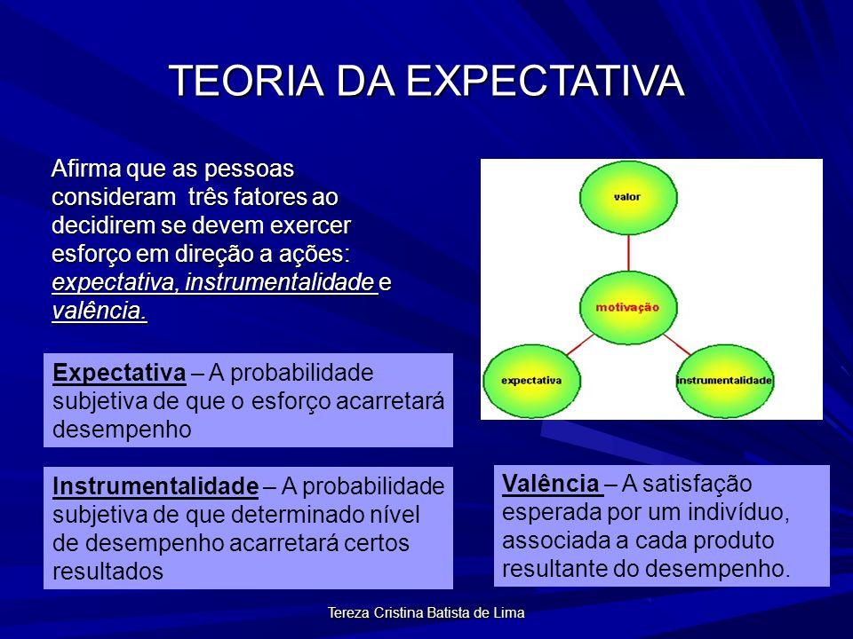 Tereza Cristina Batista de Lima TEORIA DA EXPECTATIVA Afirma que as pessoas consideram três fatores ao decidirem se devem exercer esforço em direção a ações: expectativa, instrumentalidade e valência.