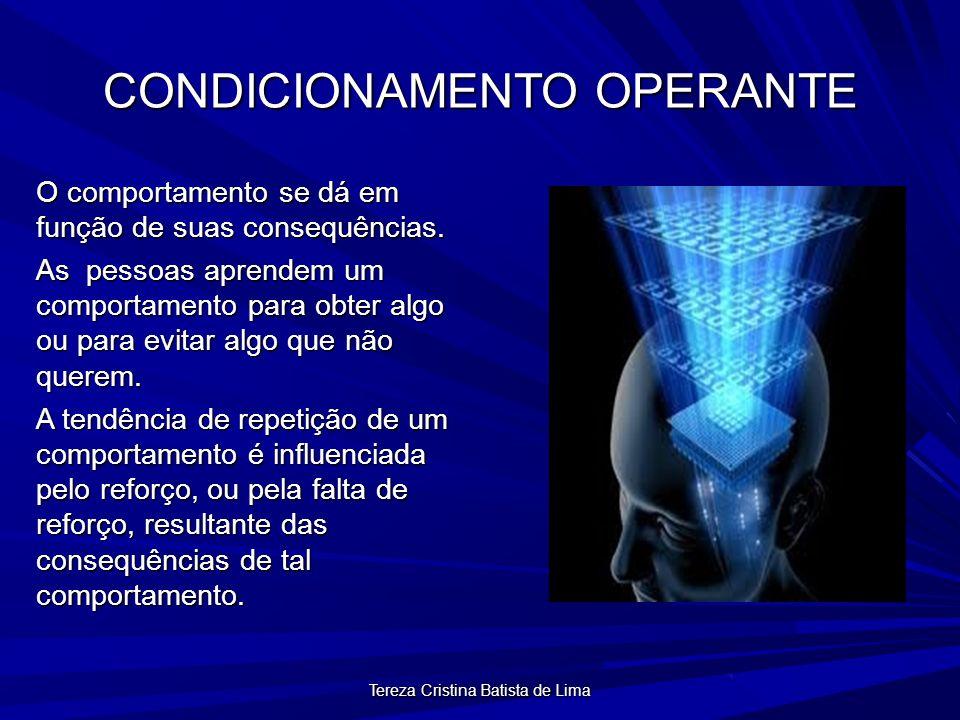 Tereza Cristina Batista de Lima CONDICIONAMENTO OPERANTE O comportamento se dá em função de suas consequências.