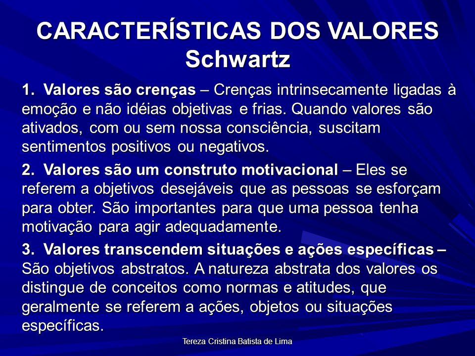 Tereza Cristina Batista de Lima CARACTERÍSTICAS DOS VALORES Schwartz 1.