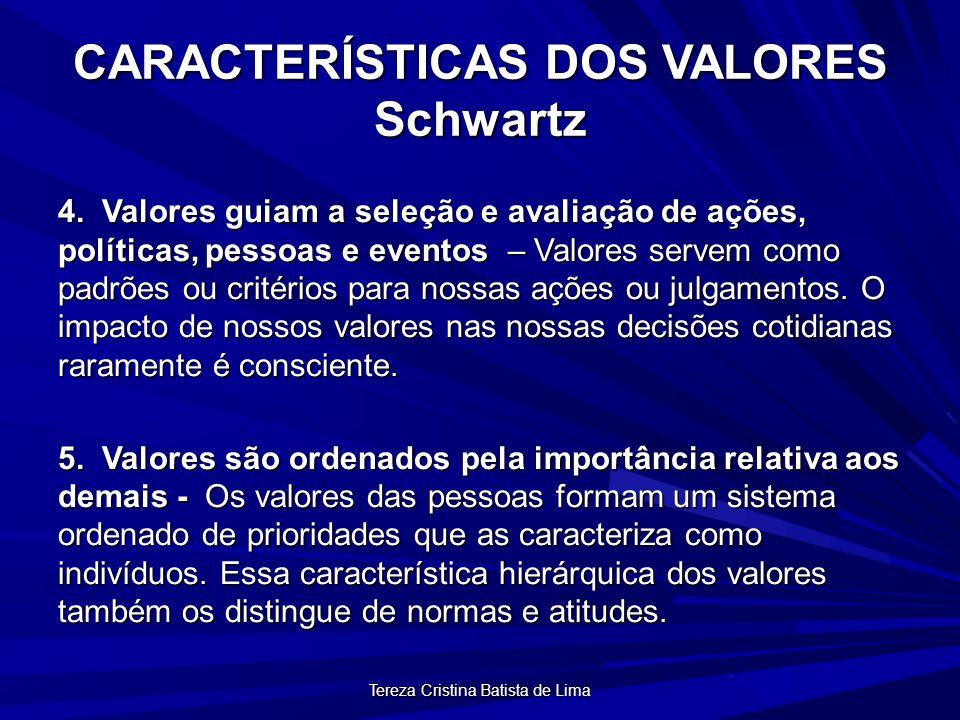 Tereza Cristina Batista de Lima ATRIBUTOS DOS VALORES CONTEÚDO Determina que um modo de conduta ou existência é importante.