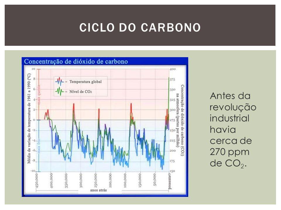 Antes da revolução industrial havia cerca de 270 ppm de CO 2.