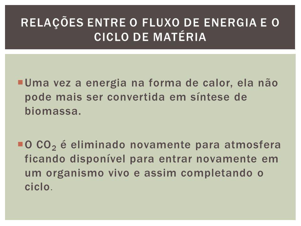 Uma vez a energia na forma de calor, ela não pode mais ser convertida em síntese de biomassa. O CO 2 é eliminado novamente para atmosfera ficando disp