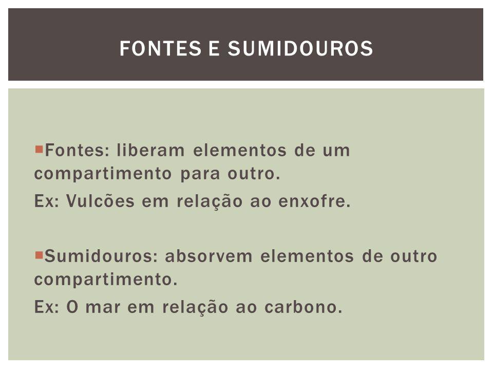 Fontes: liberam elementos de um compartimento para outro. Ex: Vulcões em relação ao enxofre. Sumidouros: absorvem elementos de outro compartimento. Ex
