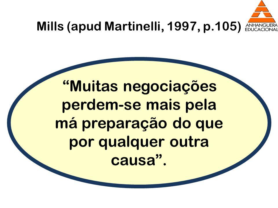 Mills (apud Martinelli, 1997, p.105) Muitas negociações perdem-se mais pela má preparação do que por qualquer outra causa.