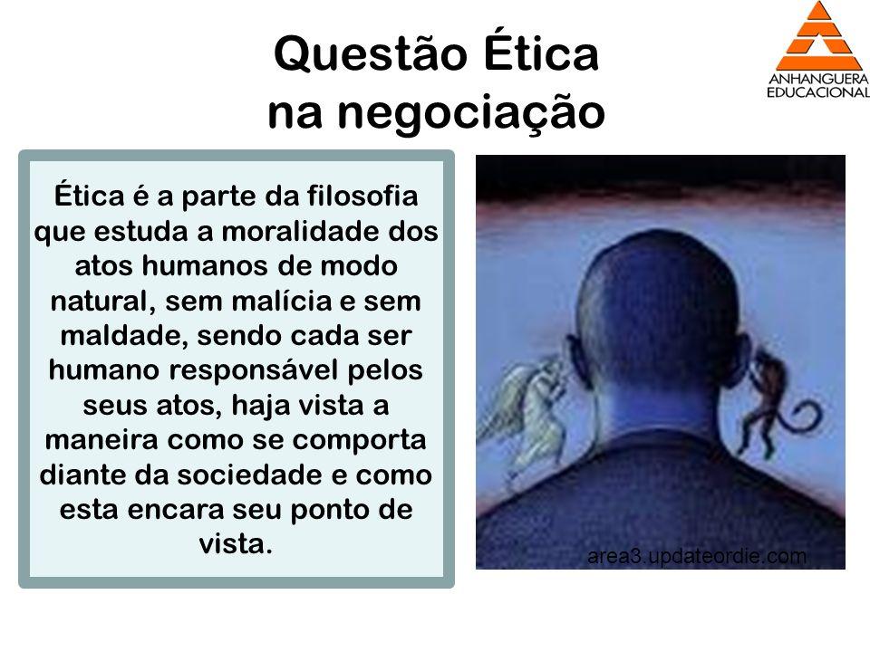 Questão Ética na negociação area3.updateordie.com Ética é a parte da filosofia que estuda a moralidade dos atos humanos de modo natural, sem malícia e