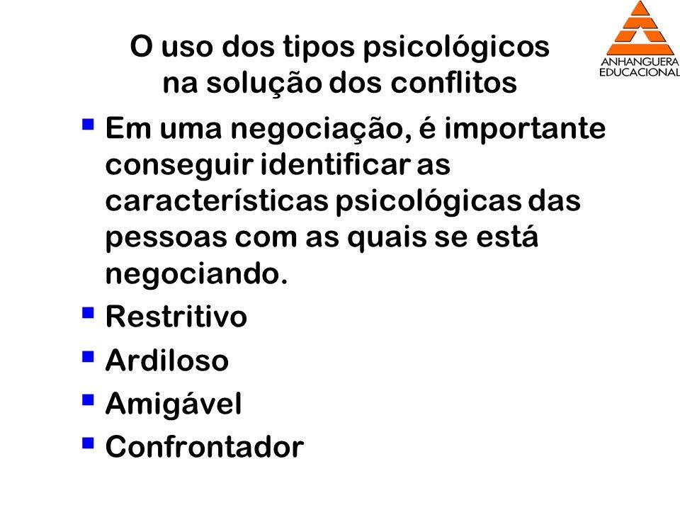 O uso dos tipos psicológicos na solução dos conflitos Em uma negociação, é importante conseguir identificar as características psicológicas das pessoa