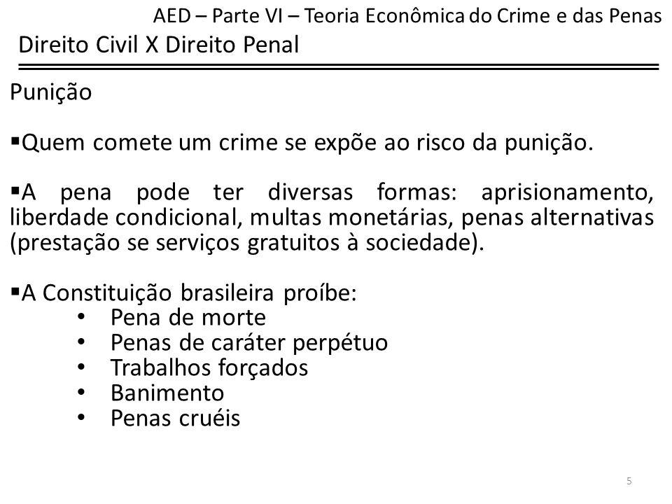 Direito Civil X Direito Penal Punição As penas do direito penal são diferentes das indenizações no direito civil.