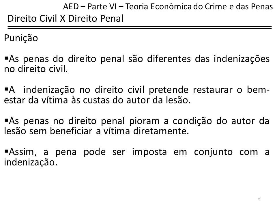 Direito Civil X Direito Penal Punição A punição monetária, no âmbito penal, deve ser a soma que faz com que o autor da lesão prefira a ausência da lesão a ter a lesão com pagamento de uma soma.