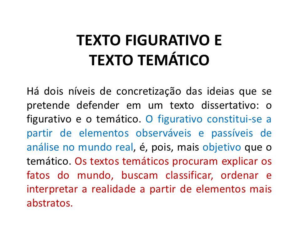 TEXTO FIGURATIVO E TEXTO TEMÁTICO Há dois níveis de concretização das ideias que se pretende defender em um texto dissertativo: o figurativo e o temát