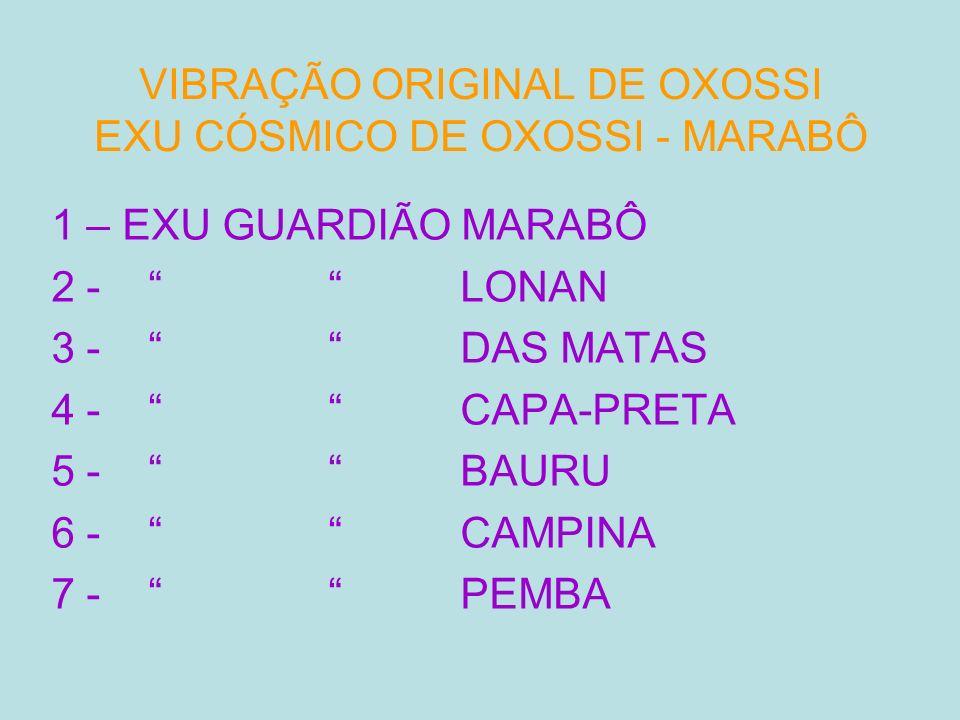 VIBRAÇÃO ORIGINAL DE OXOSSI EXU CÓSMICO DE OXOSSI - MARABÔ 1 – EXU GUARDIÃO MARABÔ 2 - LONAN 3 - DAS MATAS 4 - CAPA-PRETA 5 - BAURU 6 - CAMPINA 7 - PE