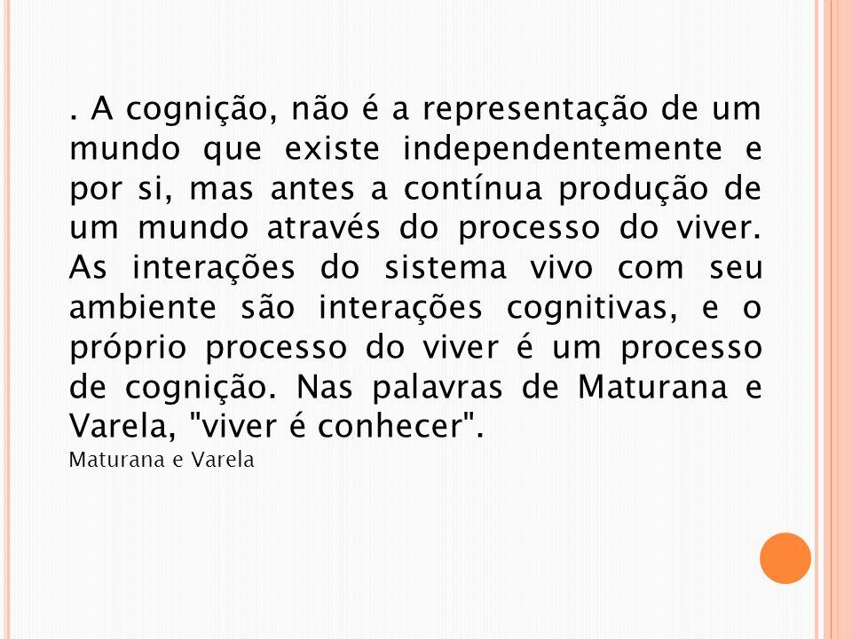 . A cognição, não é a representação de um mundo que existe independentemente e por si, mas antes a contínua produção de um mundo através do processo d