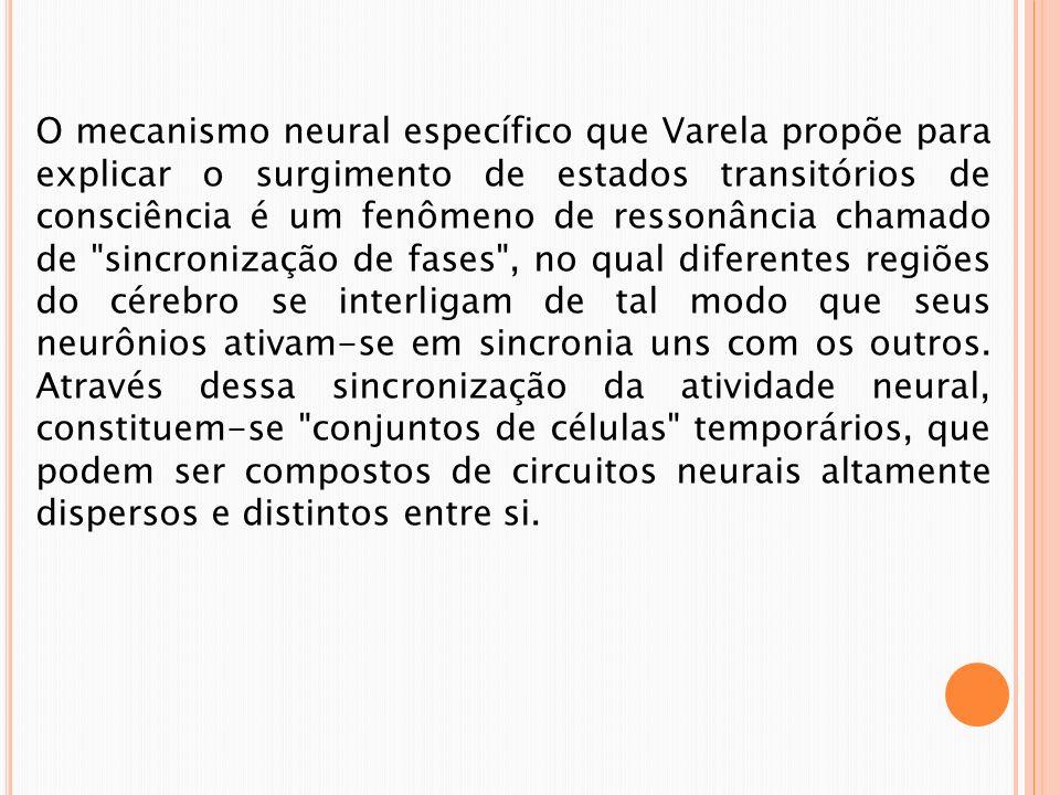 O mecanismo neural específico que Varela propõe para explicar o surgimento de estados transitórios de consciência é um fenômeno de ressonância chamado