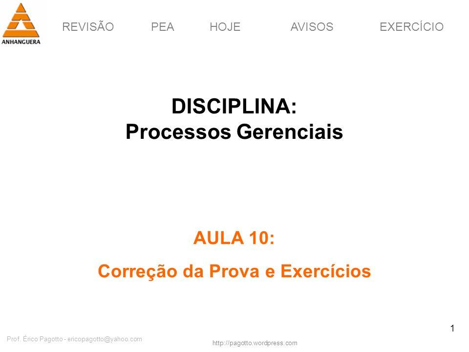 REVISÃOPEAHOJEEXERCÍCIOAVISOS http://pagotto.wordpress.com Prof. Érico Pagotto - ericopagotto@yahoo.com 1 DISCIPLINA: Processos Gerenciais AULA 10: Co