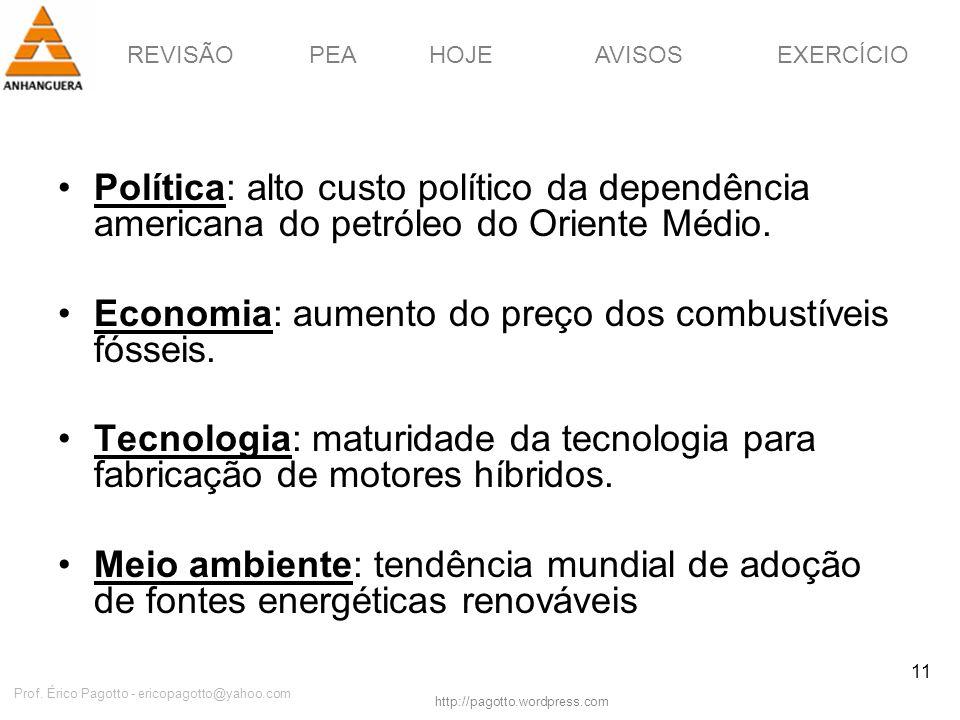 REVISÃOPEAHOJEEXERCÍCIOAVISOS http://pagotto.wordpress.com Prof. Érico Pagotto - ericopagotto@yahoo.com 11 Política: alto custo político da dependênci