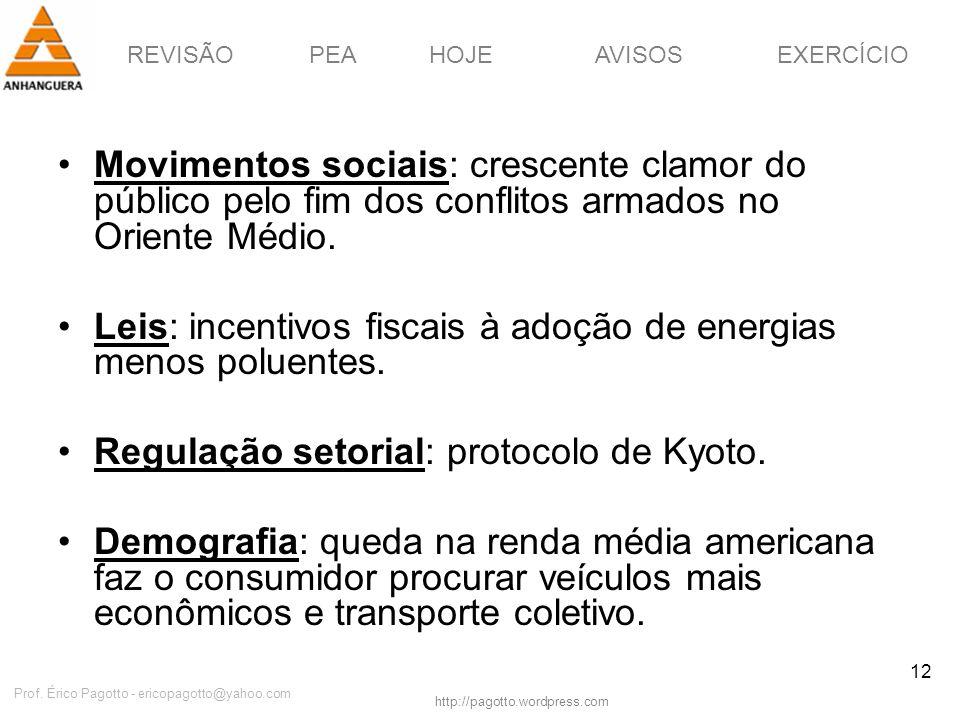 REVISÃOPEAHOJEEXERCÍCIOAVISOS http://pagotto.wordpress.com Prof. Érico Pagotto - ericopagotto@yahoo.com 12 Movimentos sociais: crescente clamor do púb