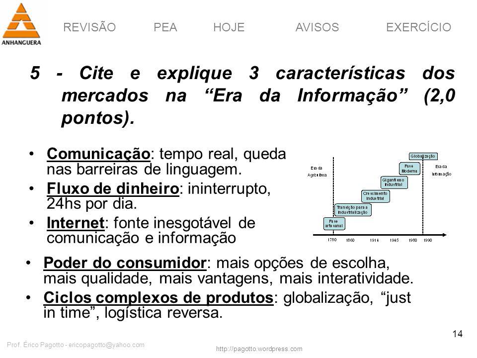REVISÃOPEAHOJEEXERCÍCIOAVISOS http://pagotto.wordpress.com Prof. Érico Pagotto - ericopagotto@yahoo.com 14 5 - Cite e explique 3 características dos m