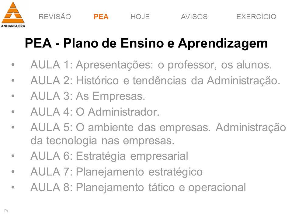 REVISÃOPEAHOJEEXERCÍCIOAVISOS http://pagotto.wordpress.com Prof. Érico Pagotto - ericopagotto@yahoo.com 2 PEA - Plano de Ensino e Aprendizagem AULA 1: