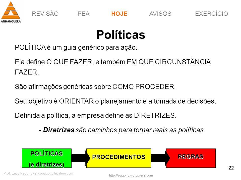 REVISÃOPEAHOJEEXERCÍCIOAVISOS http://pagotto.wordpress.com Prof. Érico Pagotto - ericopagotto@yahoo.com 22 Políticas POLÍTICA é um guia genérico para