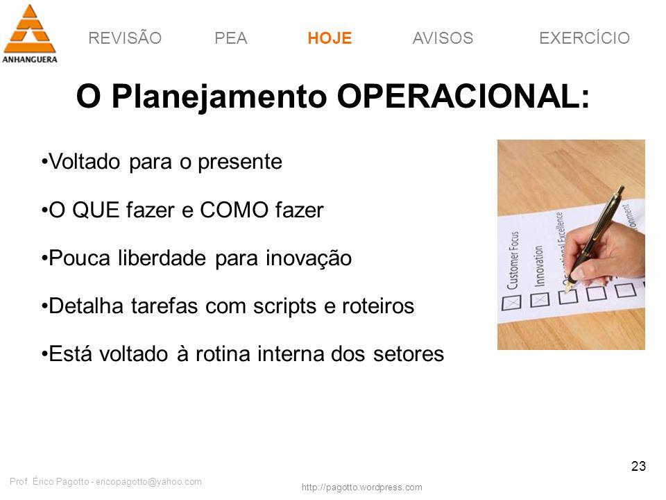 REVISÃOPEAHOJEEXERCÍCIOAVISOS http://pagotto.wordpress.com Prof. Érico Pagotto - ericopagotto@yahoo.com 23 O Planejamento OPERACIONAL: Voltado para o