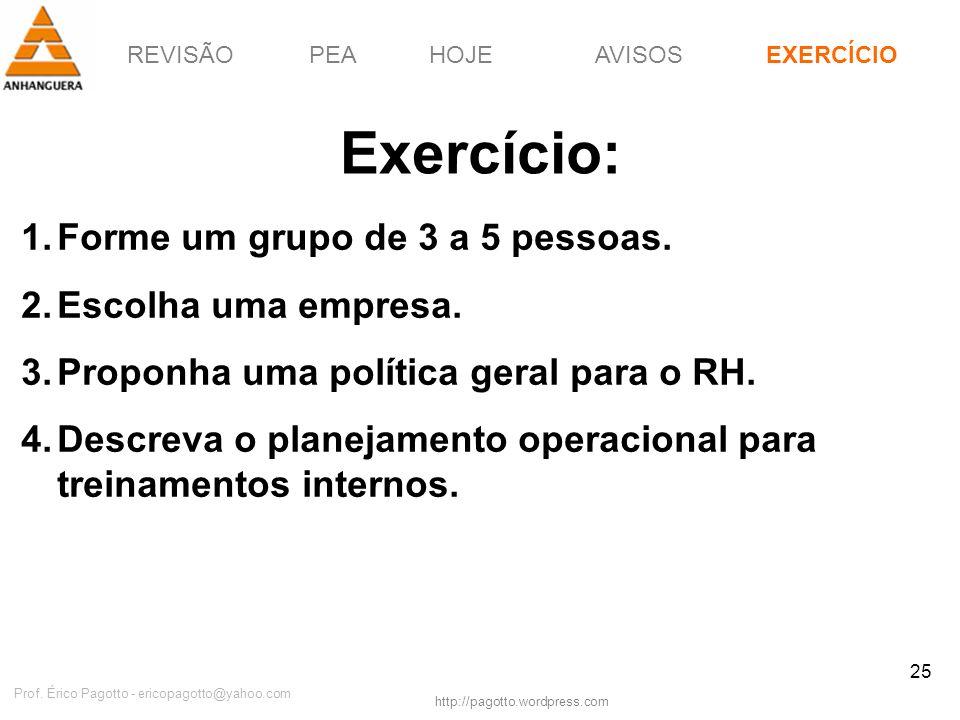REVISÃOPEAHOJEEXERCÍCIOAVISOS http://pagotto.wordpress.com Prof. Érico Pagotto - ericopagotto@yahoo.com 25 Exercício: EXERCÍCIO 1.Forme um grupo de 3