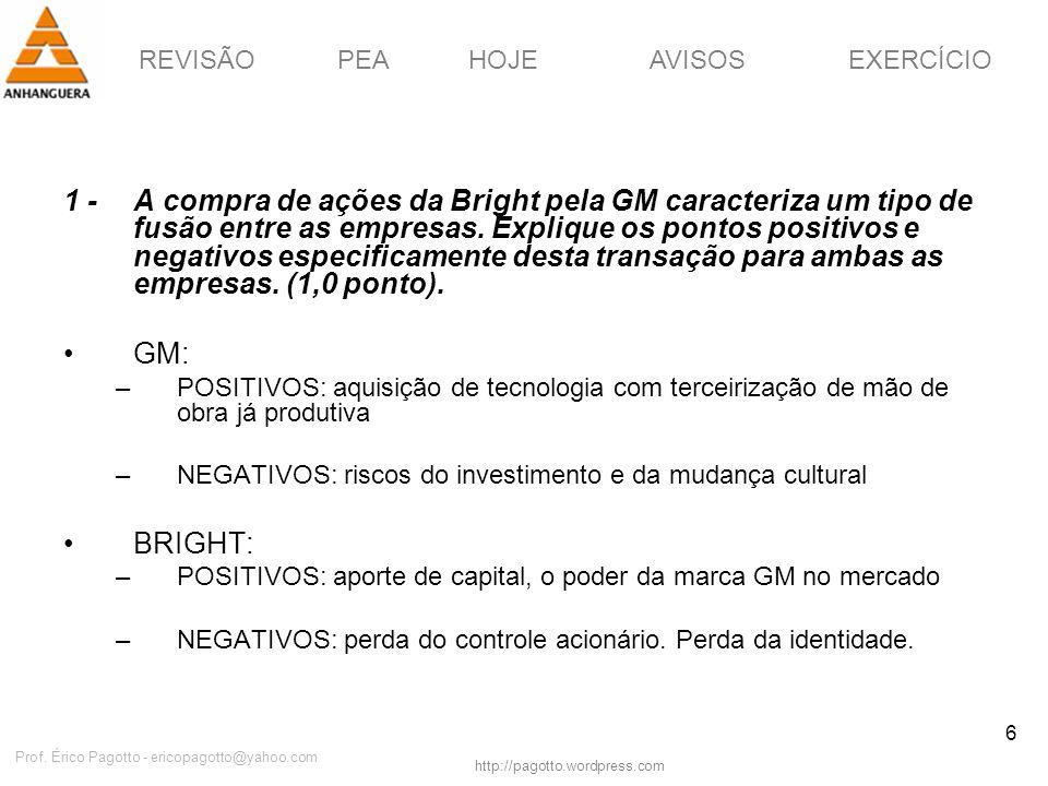 REVISÃOPEAHOJEEXERCÍCIOAVISOS http://pagotto.wordpress.com Prof. Érico Pagotto - ericopagotto@yahoo.com 6 1 -A compra de ações da Bright pela GM carac